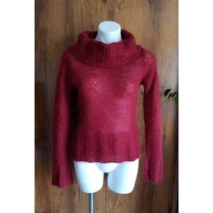 Anthropolgie Red Loose Knit Pullover Cowl Sweater